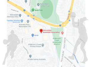 Map showing Warrandyte Basketball Association location