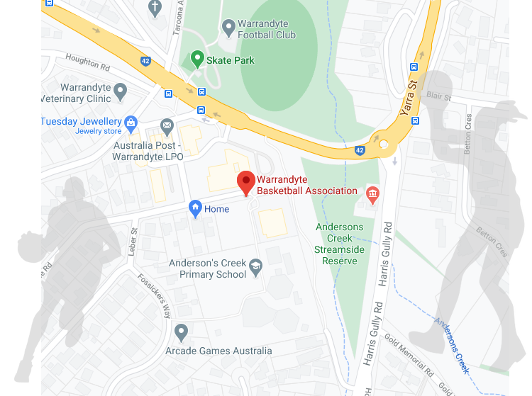 Map showing Warrandyte Basketball Association location